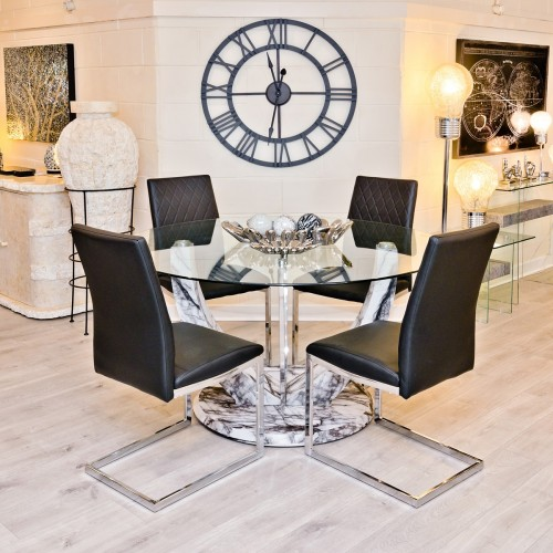 Jericho Marble Style Round Dining Table in our Showroom