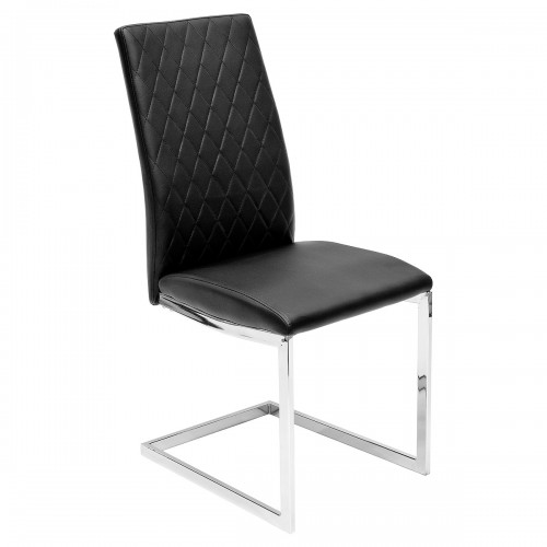 Quilt Back Black Dining Chair - Front
