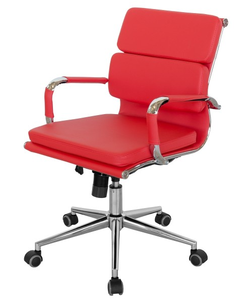 Faux Leather Office Chair - Red