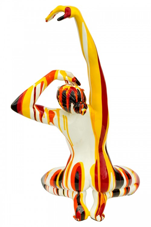 Amorous red, orange and yellow lady sculpture - back view