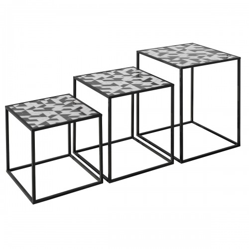 Nest of Three Tables (Set of 3) - Geometric Pattern Top