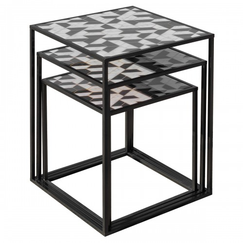 Nest of Three Tables (Set of 3) - Geometric Pattern Top - Stacked