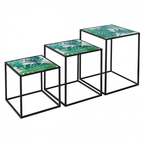 Nest of Three Tables (Set of 3) - Green Leaf Pattern Top