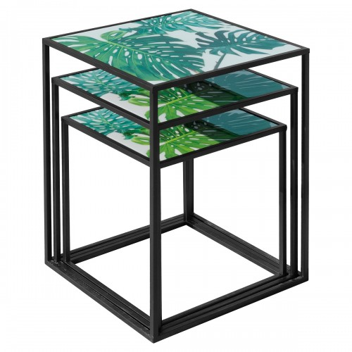 Nest of Three Tables (Set of 3) - Green Leaf Pattern Top - Stacked