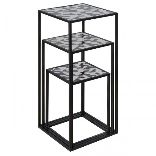 Nest of Three Tall Tables (Set of 3) - Geometric Pattern Top - Stacked