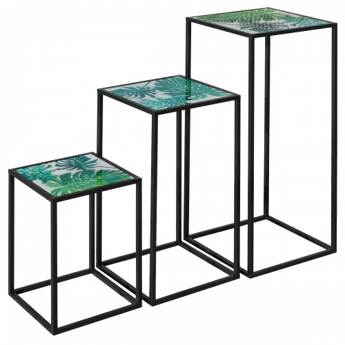 Nest of Three Tall Tables (Set of 3) - Green Leaf Pattern Top