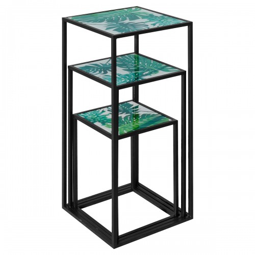 Nest of Three Tall Tables (Set of 3) - Green Leaf Pattern Top - Stacked