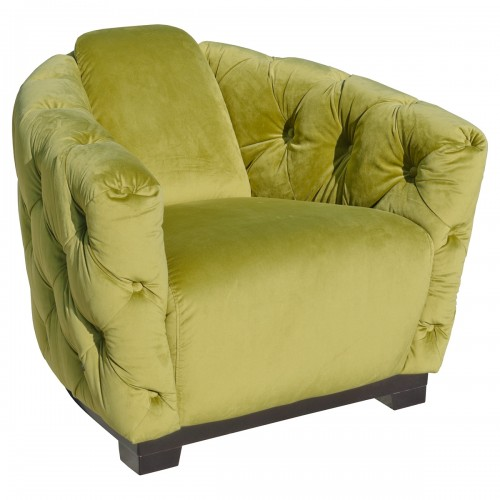 Deep Button Green Club Chair