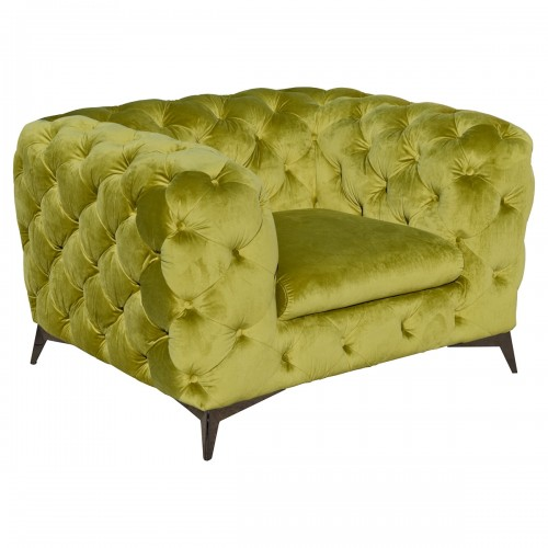 Deep Button Green Arm Chair