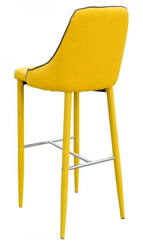 Duncan Bar Stool in Yellow Fabric - Back