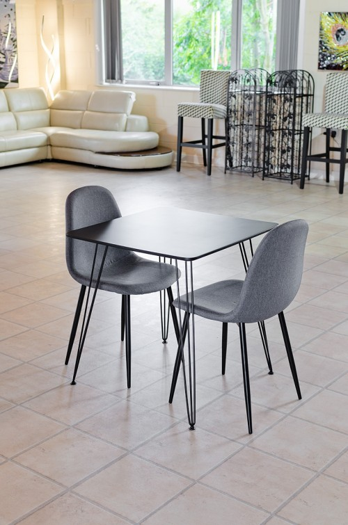 Tower square black dining table with matching grey chairs