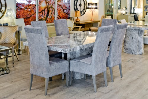 Newcastle Grey Marble Dining Table in our Showroom