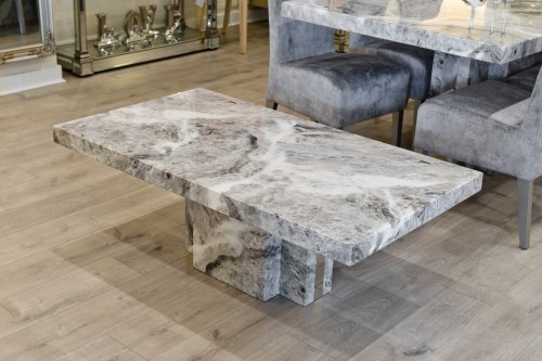 Newcastle Grey Marble Coffee Table in our Showroom