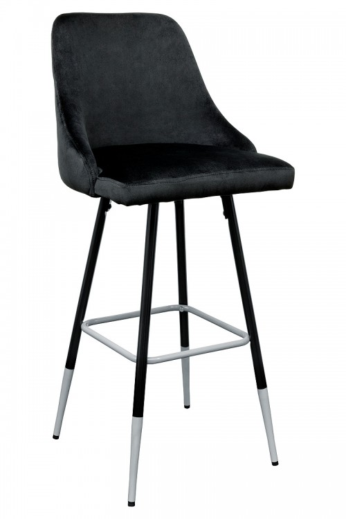 Fiona Black Fabric Bar Stool - Front View