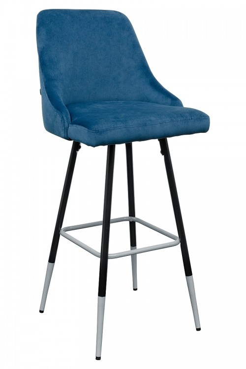 Fiona Blue Fabric Bar Stool - Front View