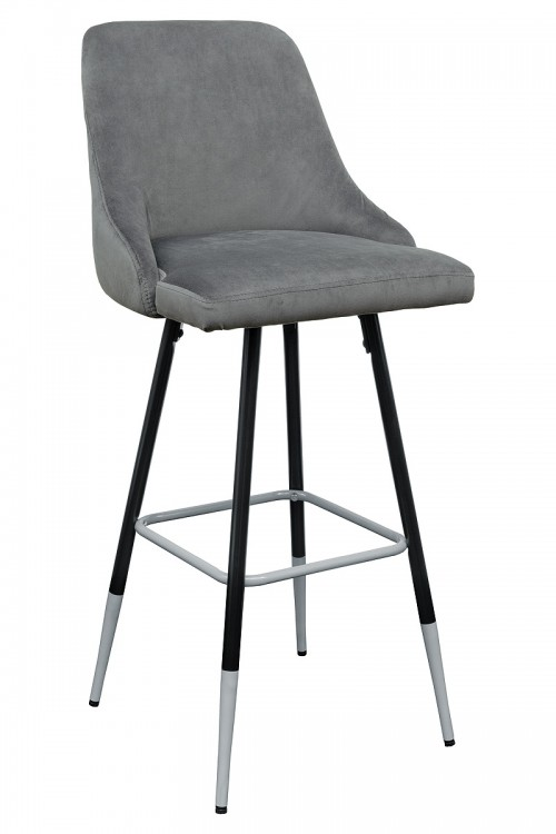 Fiona Grey Fabric Bar Stool - Front View