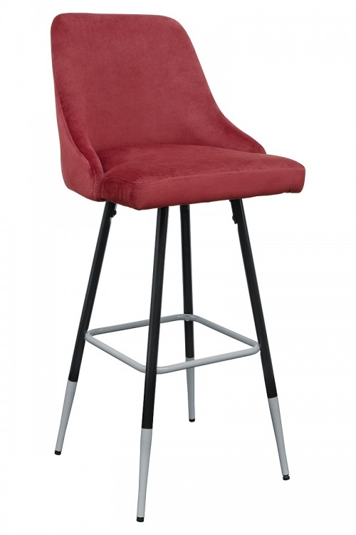Fiona Red Fabric Bar Stool - Front View