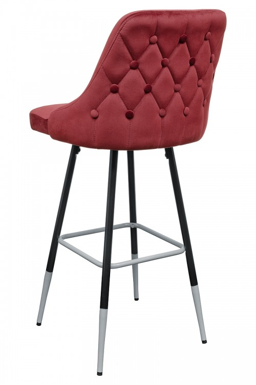 Fiona Red Fabric Bar Stool - Back View