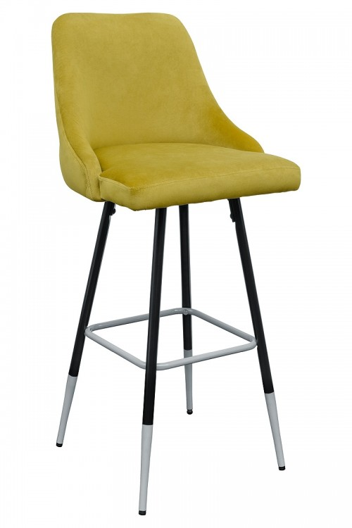 Fiona Yellow Fabric Bar Stool - Front View