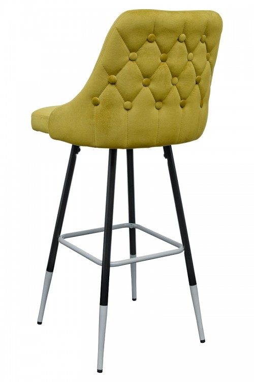 Fiona Yellow Fabric Bar Stool - Back View