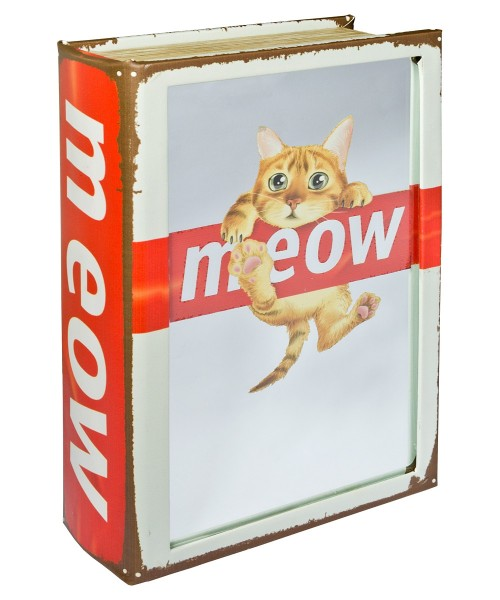 Mirrored Meow Cat Storage Book Box - Front