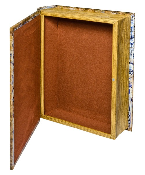 Chinese Tiles Large Storage Book Box - Open
