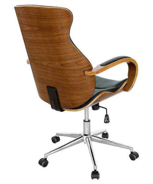 Walnut Eames Style Black Office Chair - Back