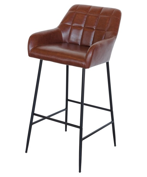 Felicity Leather Look Bar Stool in Brown