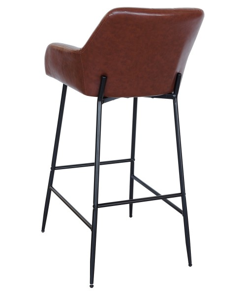 Felicity Leather Look Bar Stool in Brown - Back