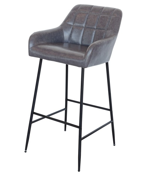 Felicity Leather Look Bar Stool in Grey