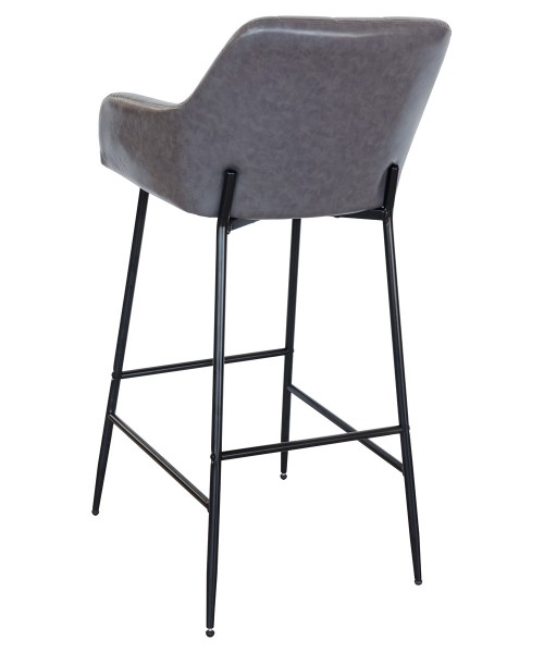 Felicity Leather Look Bar Stool in Grey - Back