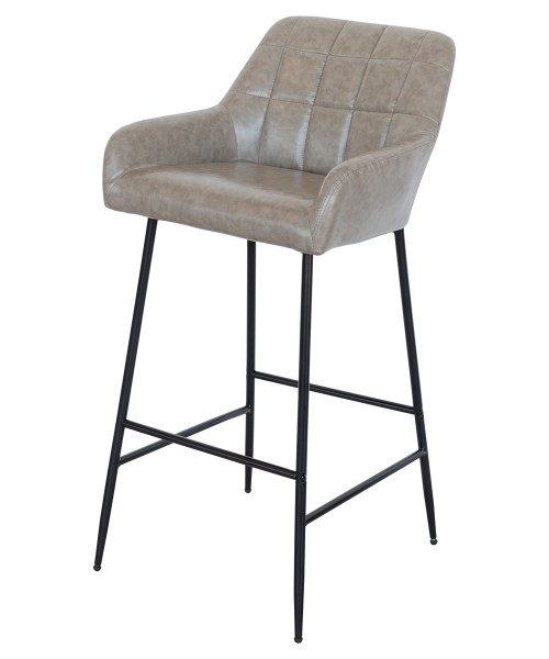 Felicity Leather Look Bar Stool in Taupe