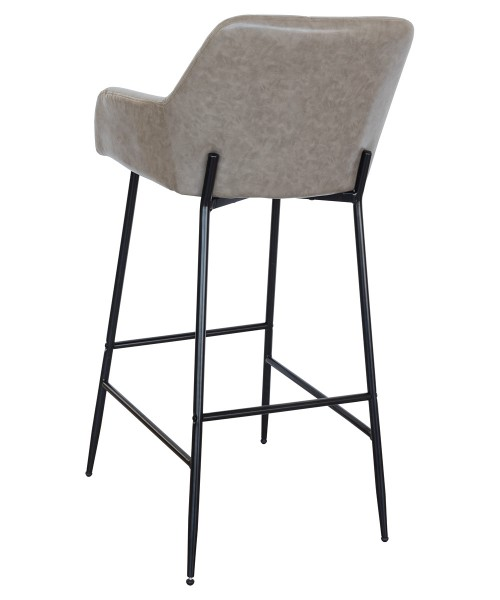 Felicity Leather Look Bar Stool in Taupe - Back