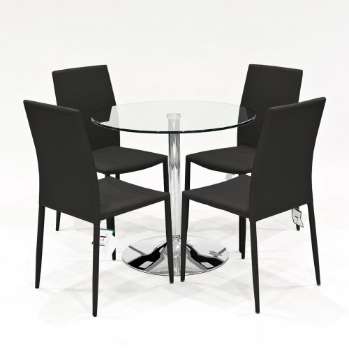 Clear glass dining set with black Selina stacking dining chairs