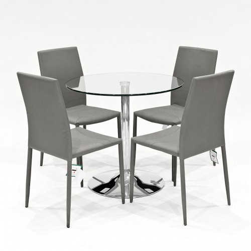 Clear glass dining set with grey Selina stacking dining chairs