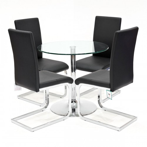 Clear glass dining set with black Brescia dining chairs