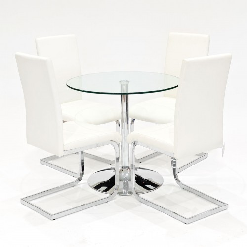 Clear glass dining set with cream Brescia dining chairs