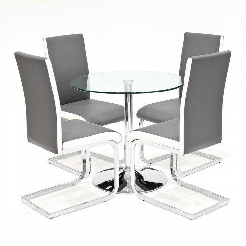 Clear glass dining set with grey Brescia dining chairs