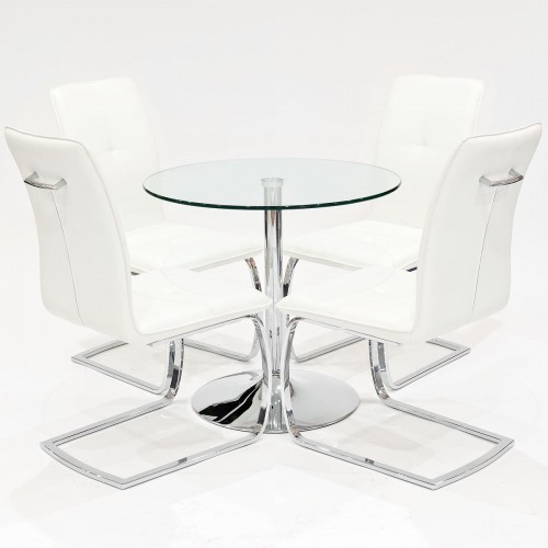 Clear glass dining set with white Belmont dining chairs