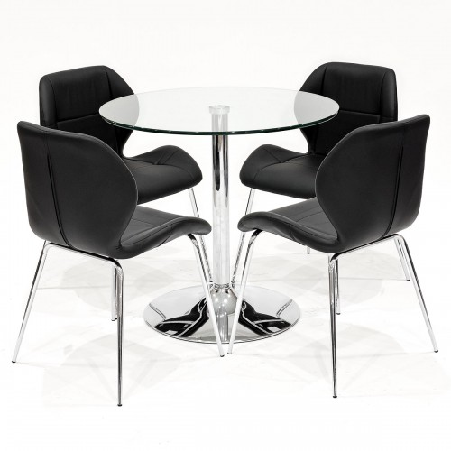 Clear glass dining set with black Dinky dining chairs