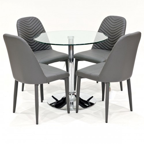 Clear glass dining set with grey Riversway dining chairs