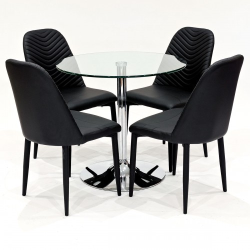 Clear glass dining set with black Riversway dining chairs