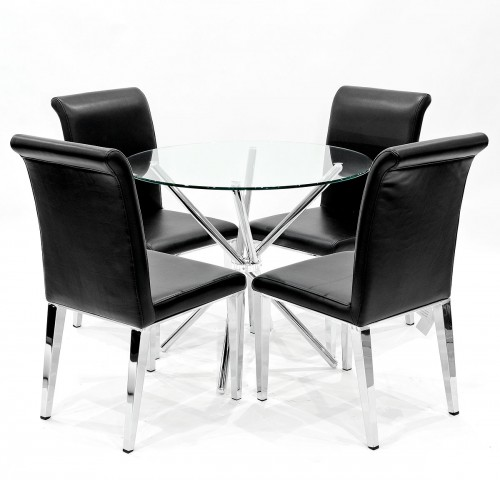 Criss-Cross clear glass dining set with black Kirkland dining chairs