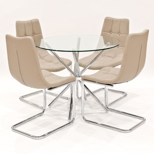 Criss-Cross clear glass dining set with beige Menson dining chairs