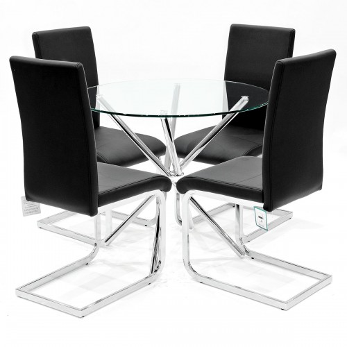 Criss-Cross clear glass dining set with black Brescia dining chairs