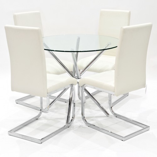 Criss-Cross clear glass dining set with cream Brescia dining chairs