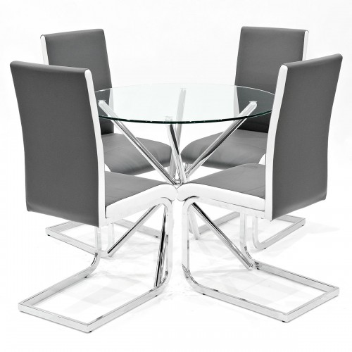 Criss-Cross clear glass dining set with grey Brescia dining chairs