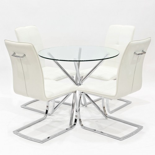Criss-Cross clear glass dining set with white Belmont dining chairs