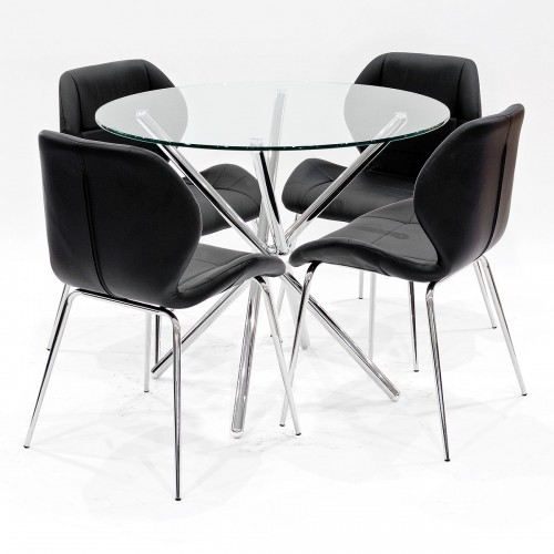 Criss-Cross clear glass dining set with black Dinky dining chairs