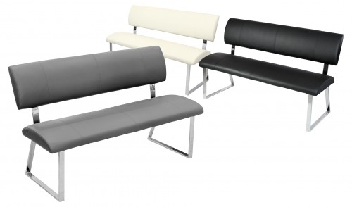 Triple Diner Bench available in Black, Cream or Grey PU